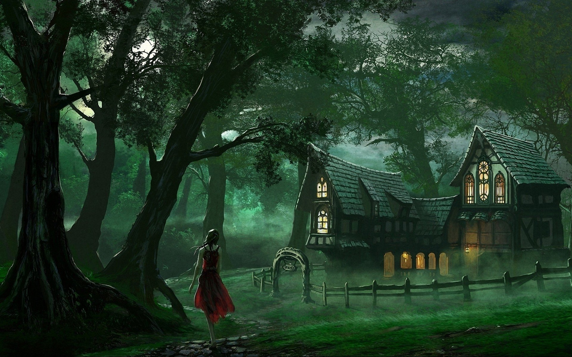 women forests houses artwork