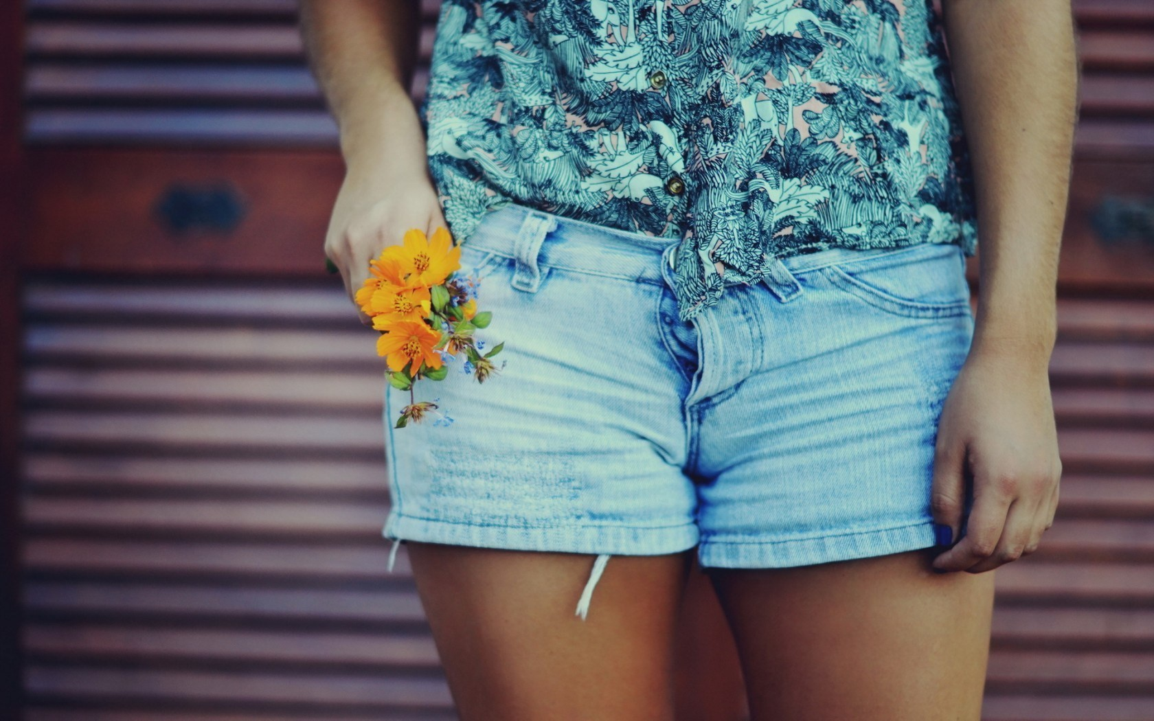 women jeans flowers shorts
