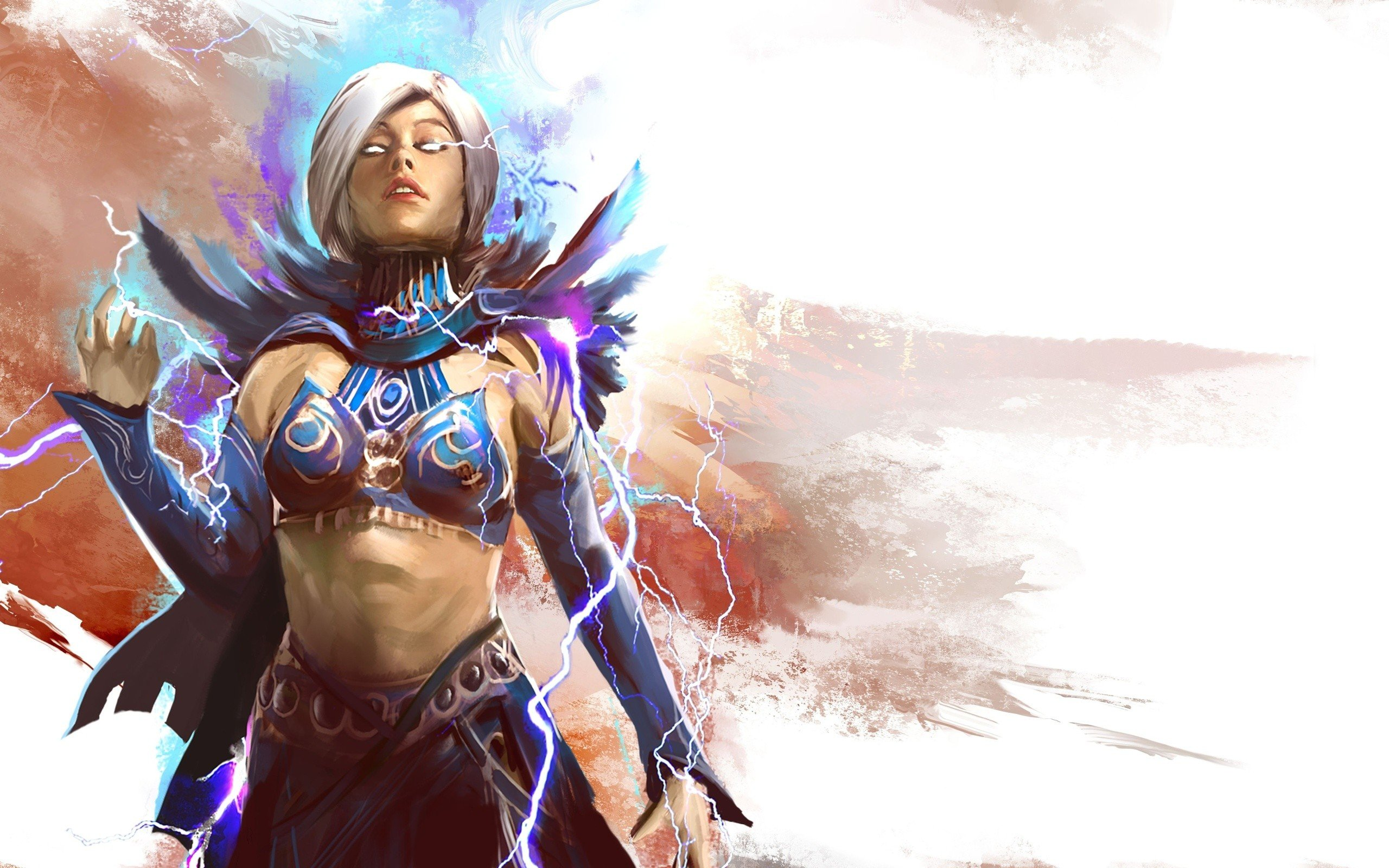 women mage video games fantasy art artwork Guild Wars 2 white hair simple background