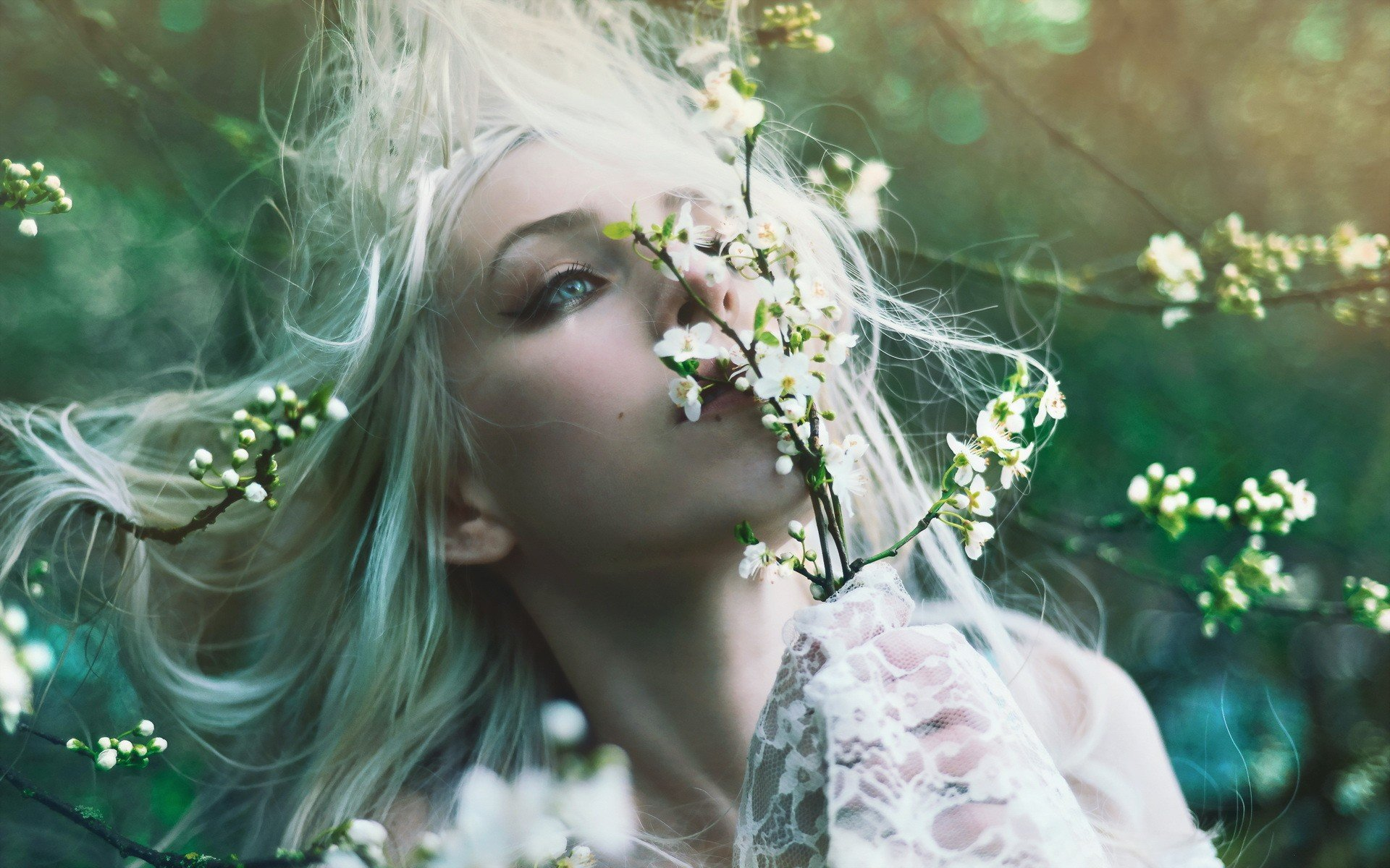 women nature flowers blue eyes macro white hair branches