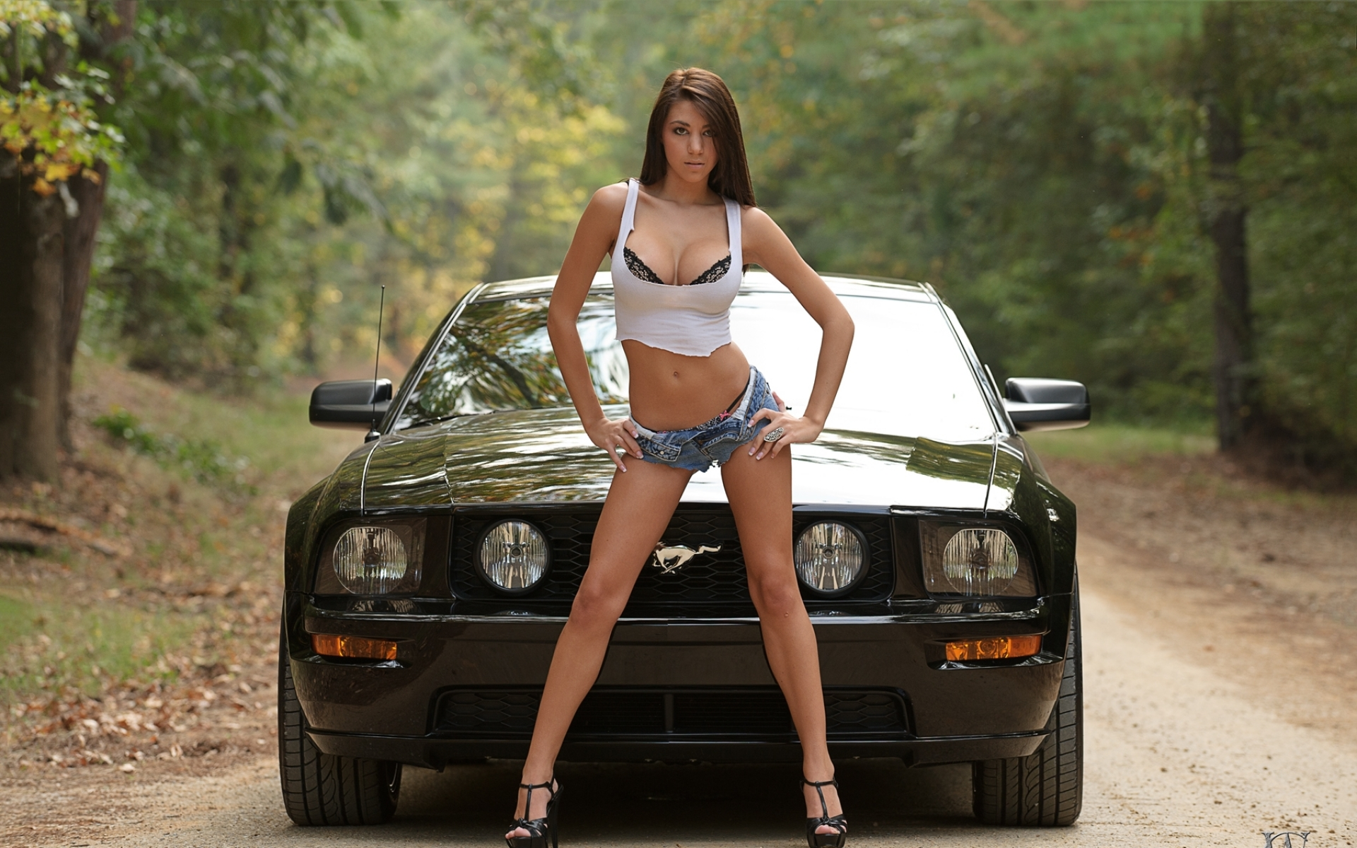 women trees cars cleavage high heels ford mustang denim shorts