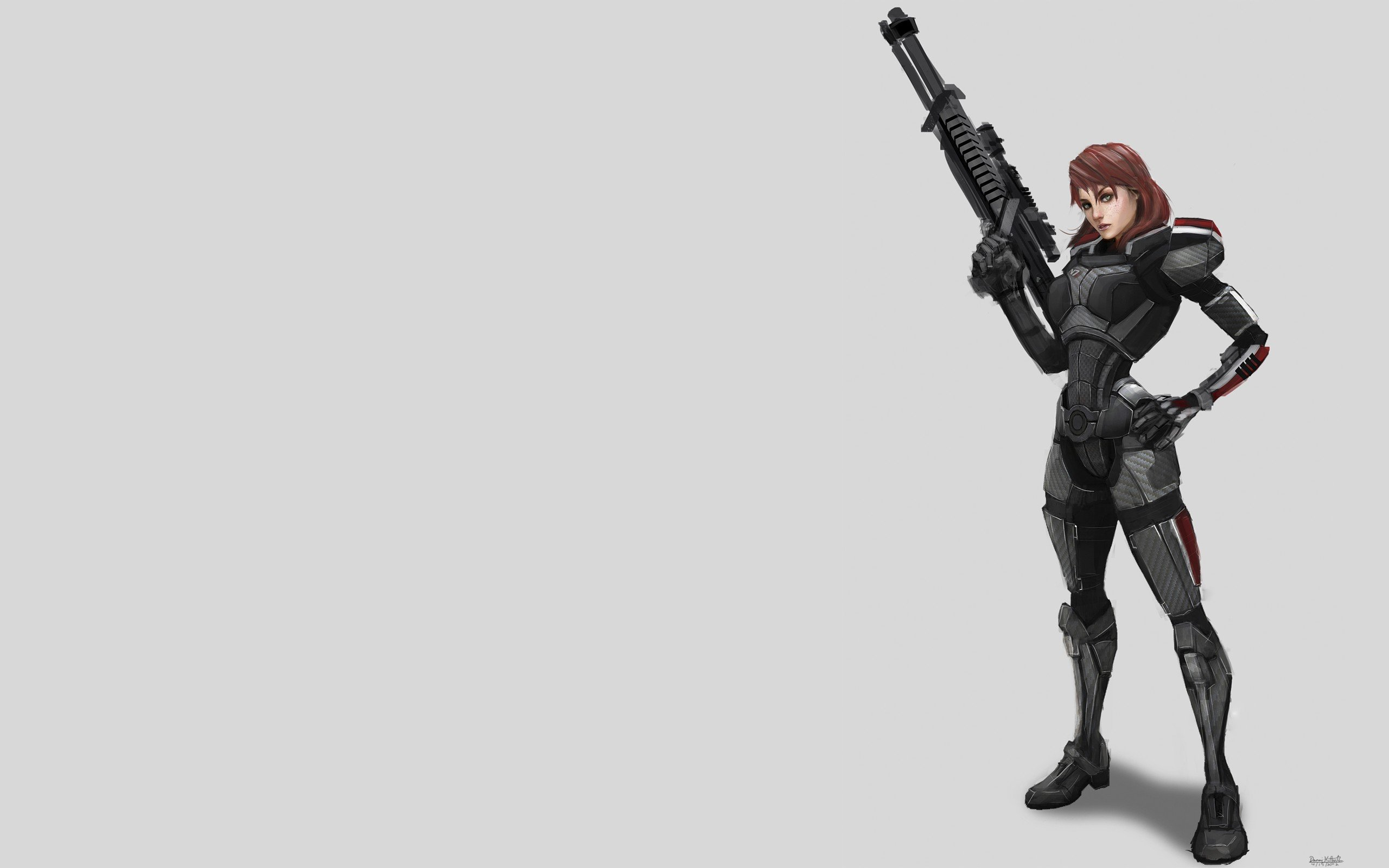 women video games Mass Effect artwork Mass Effect 3 FemShep Commander Shepard simple background