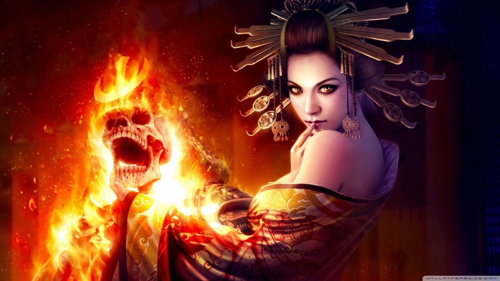 women witch skulls fire fantasy art