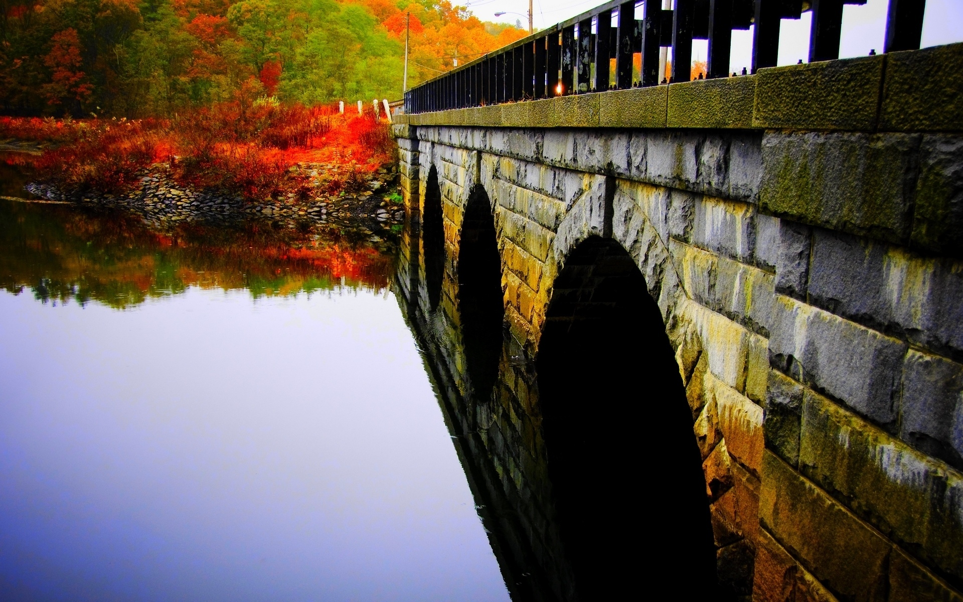 world architecture bridges stone masonry rivers stream water reflection bank shore plants trees autumn fall seasons color