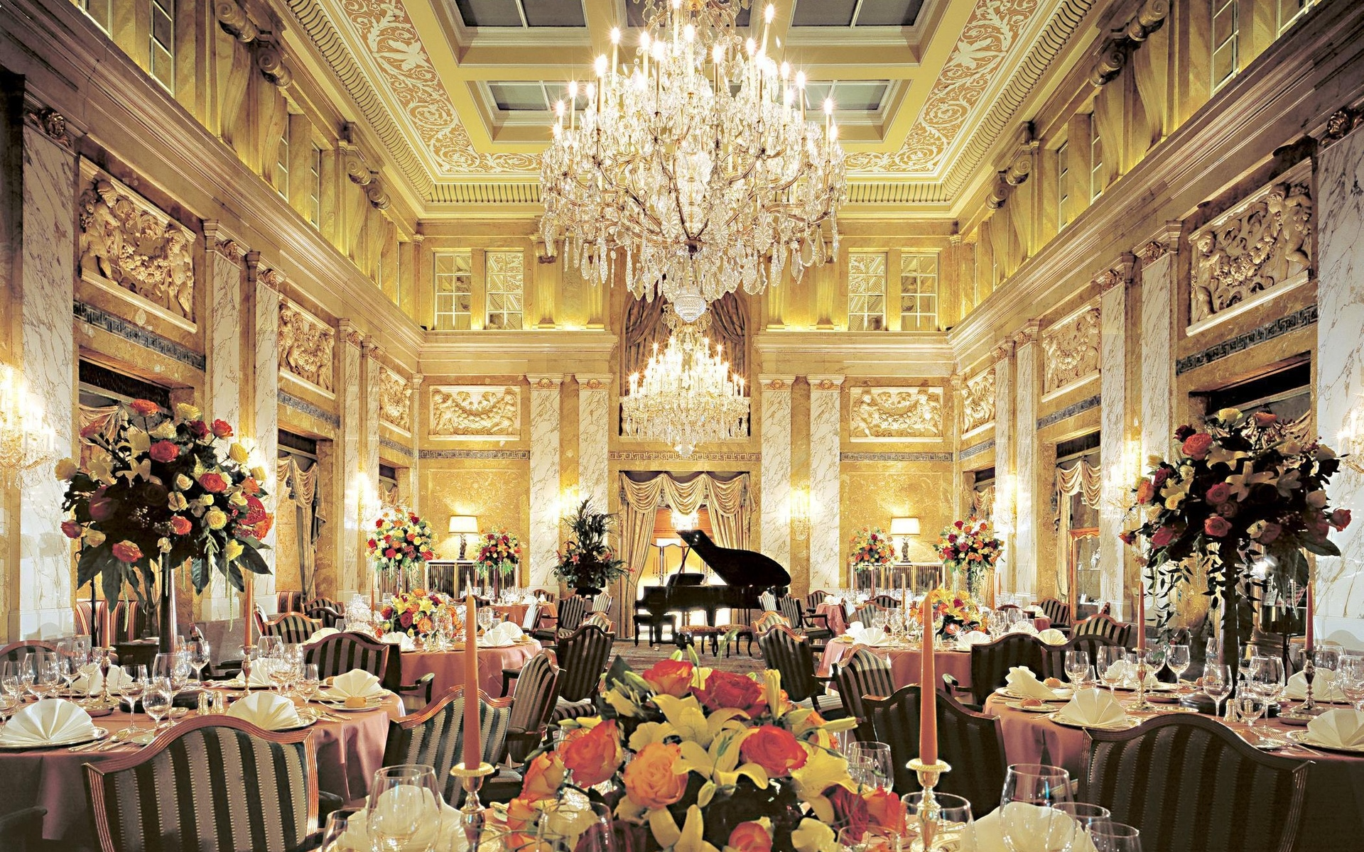 world architecture room furniture dinner ball Chandelier cups ornate detail classic photography chair flowers lights lamps door