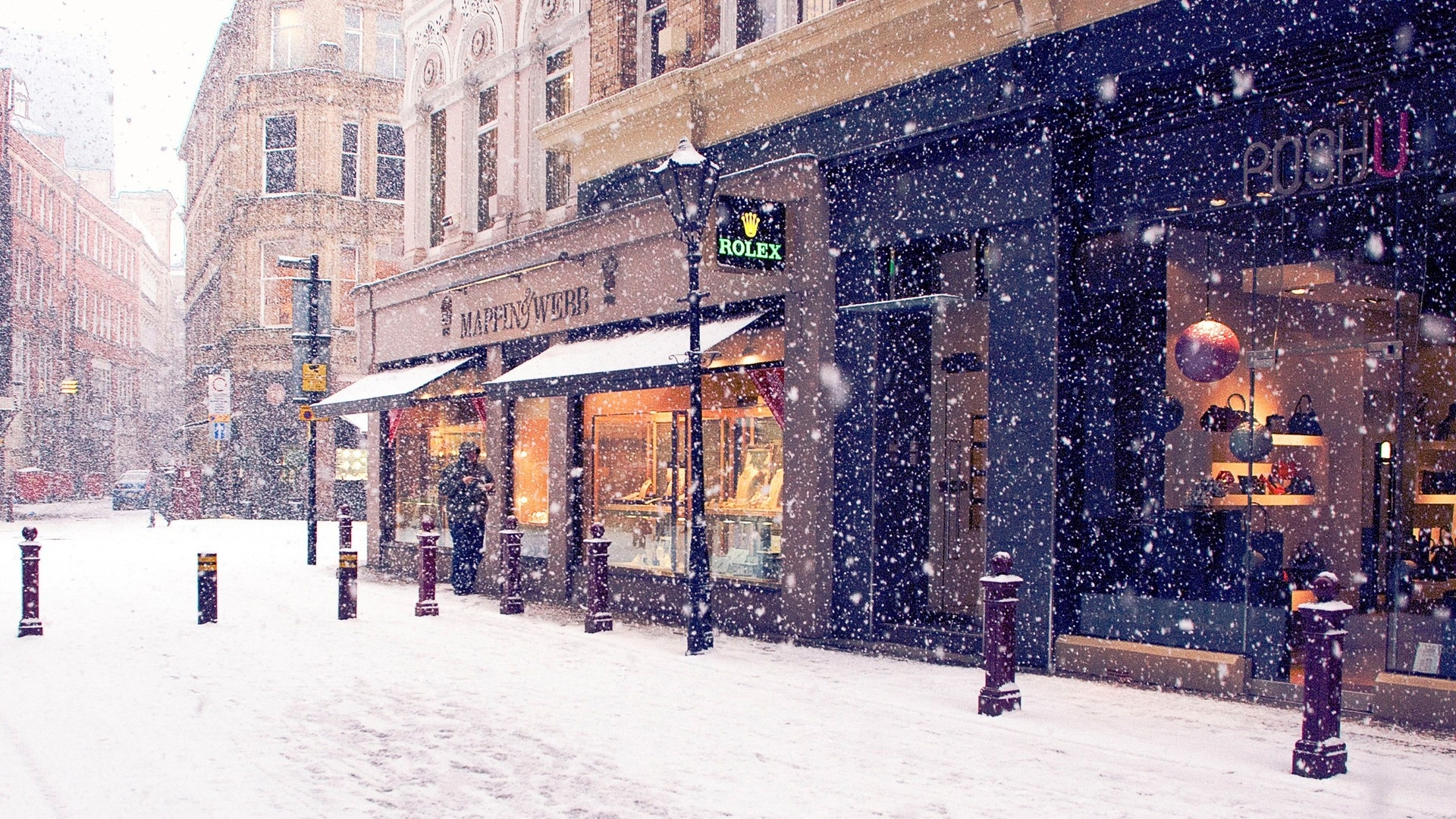 world place cities town village downtown winter snow seasons architecture buildings shop roads street snowing flakes drops white