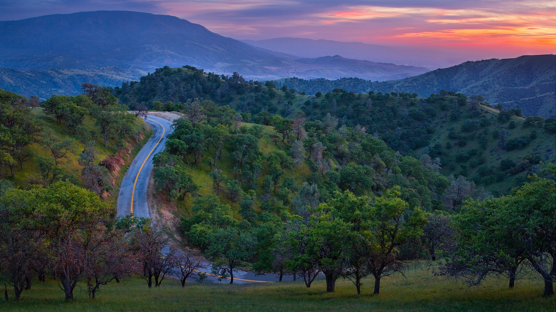 world roads nature landscapes trees forest hills mountains sky clouds sunset sunrise