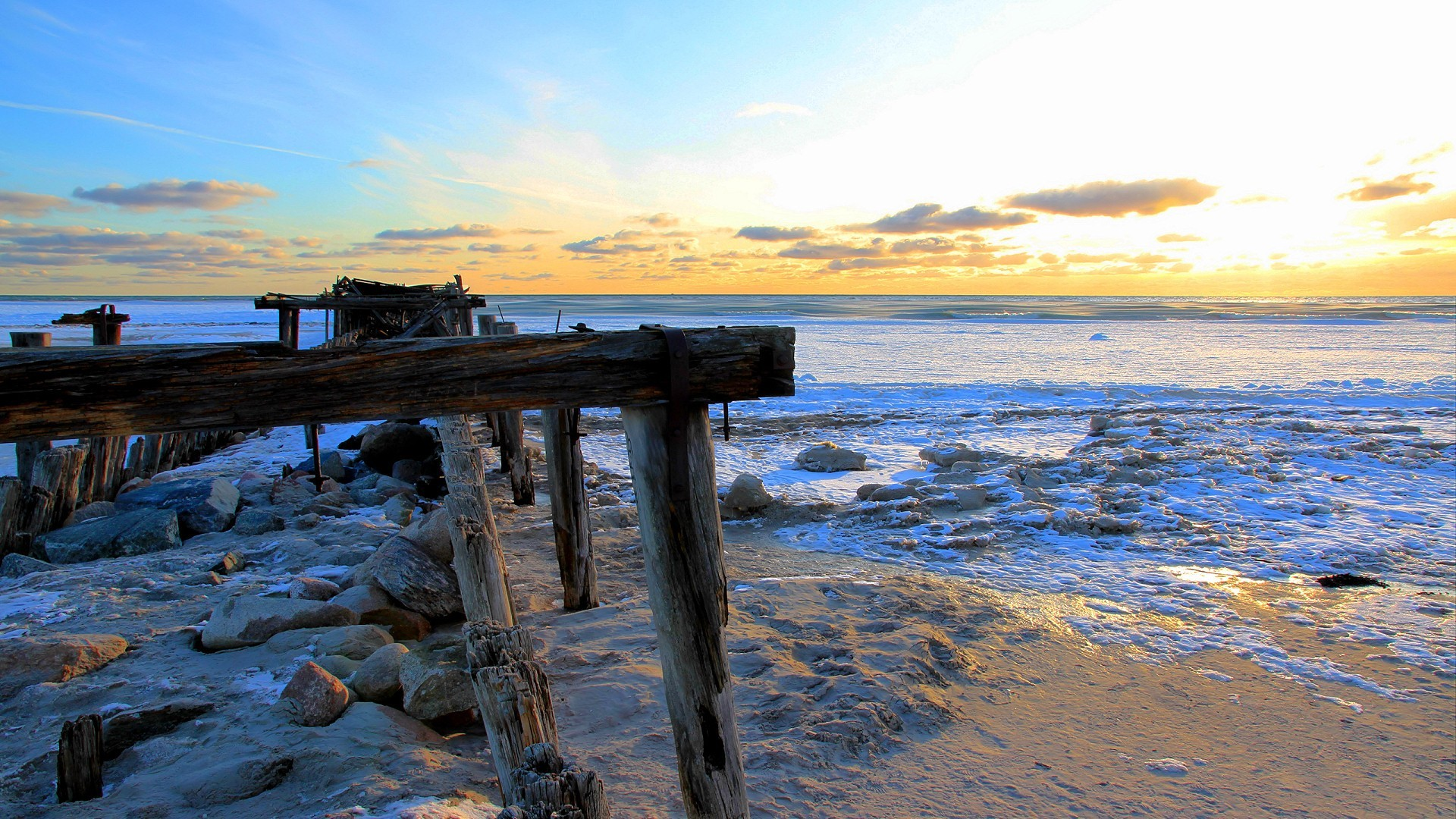 Wrecked pier in winter