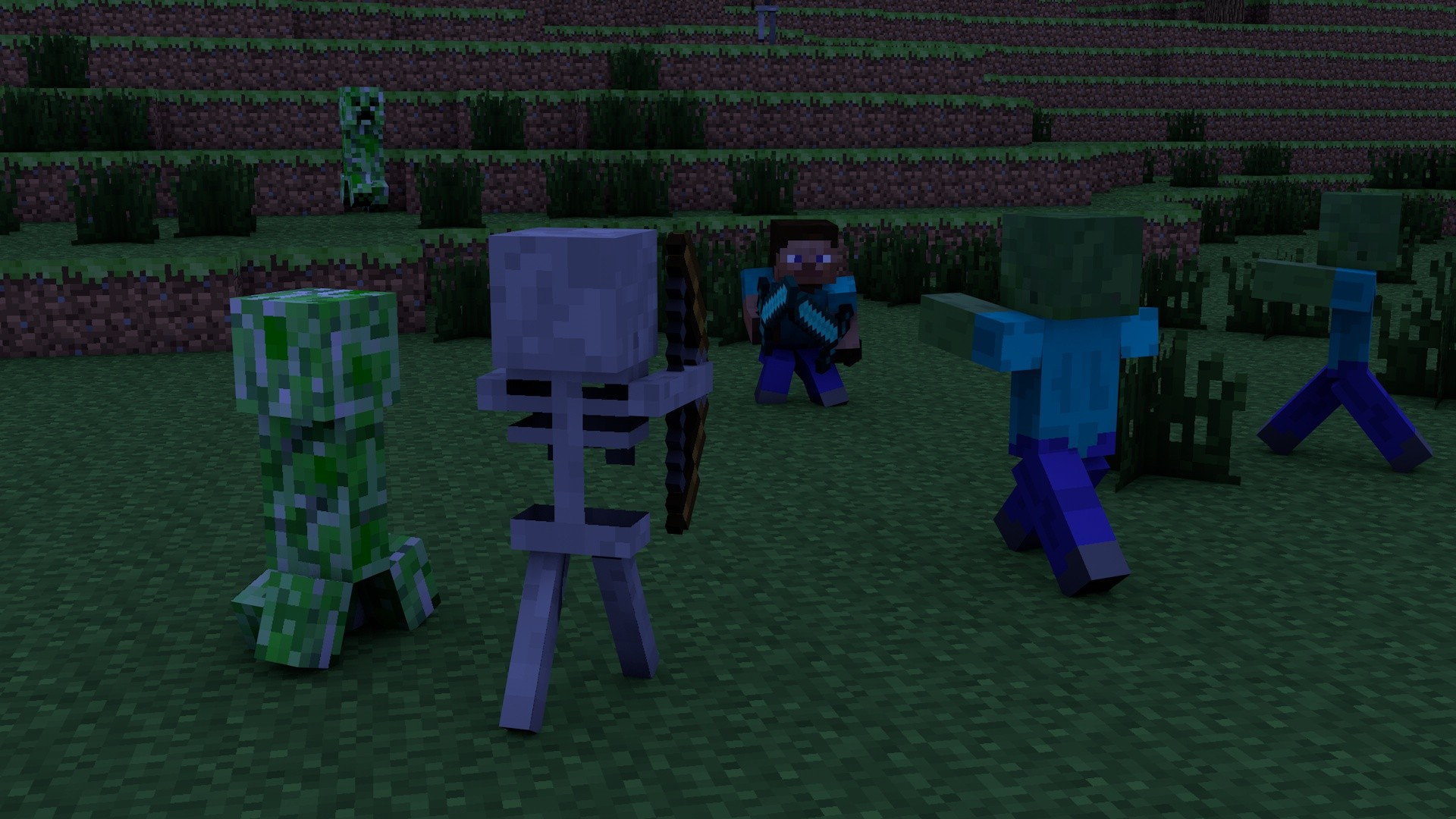 zombies Creeper Steve skeletons Minecraft cinema 4d swords tapeta
