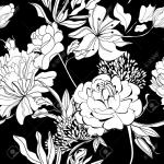 vector flower black white background